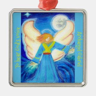 Ornament: Archangel Gabriel Silver-Colored Square Ornament