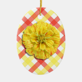 Ornament - Candy Stripe Zinnia on Lattice