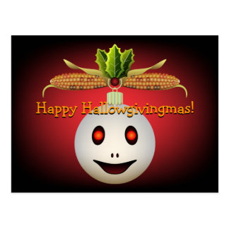 Ornament Ghost Indian Corn Holly Hallowgivingmas Postcard