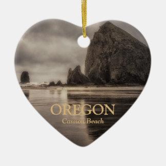 Ornament: Haystack Rock And Needles (Heart) Ceramic Heart Ornament