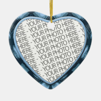 Ornament, Heart, Add Your Own Photo & Text Ceramic Ornament