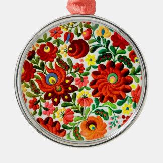 ornament, hungarian, embroidery, kalocsai Silver-Colored round ornament