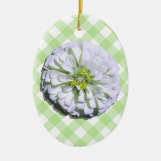 Ornament - Lemony White Zinnia on Lattice