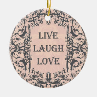Ornament...LIVE, LAUGH, LOVE pink and grey