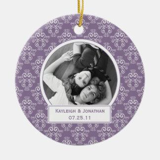 Ornament Purple and White Hearts Wedding Keepsake