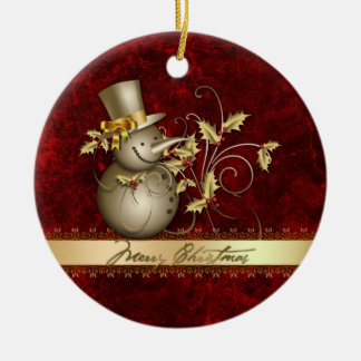 Ornament Red Gold Snowman Holly Christmas