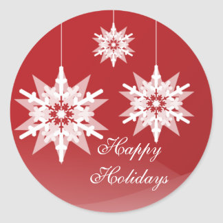 Ornament Snowflakes Large Red Holiday Classic Round Sticker