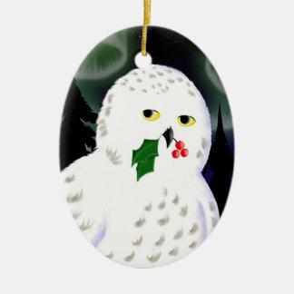 Ornament: Snowy Owl Ceramic Ornament