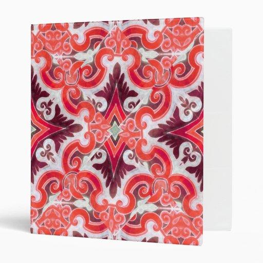 Ornament Swirls Retro Pattern Vinyl Binder
