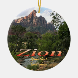 Ornament:  Virgin River & Watchman 2 (Circle) Ceramic Ornament
