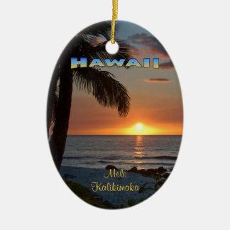 Ornament: Waikoloa Sunset #1 (Oval) Ceramic Ornament