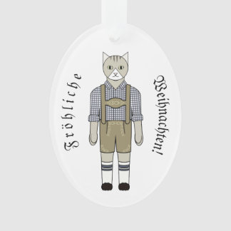 Ornament with Cats in Blue German Folk Costume