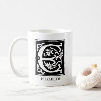 Ornamental Alphabet Letter E Personalized Coffee Mug