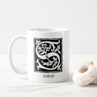 Ornamental Alphabet Letter S Personalized Coffee Mug