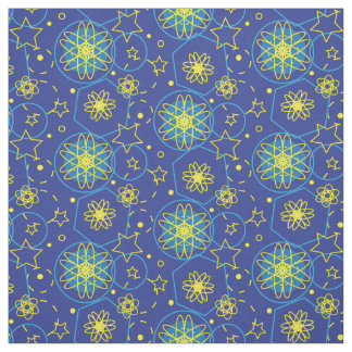 Ornamental atomic abstract floral geometric fabric