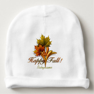 Ornamental Autumn Leaves Happy Fall Personalized Baby Beanie