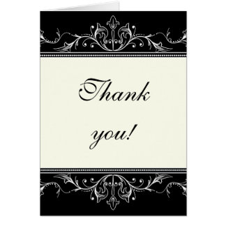 Ornamental border black white Thank you note card