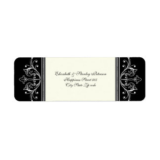 Ornamental border black white wedding custom label