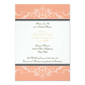 Ornamental coral white bridal shower invitation