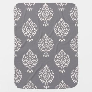Ornamental Damask Big Pattern Cream on Grey Swaddle Blankets