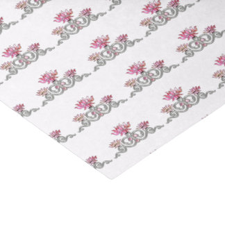 Ornamental Decorative Pink & Silver Floral Jewel Tissue Paper
