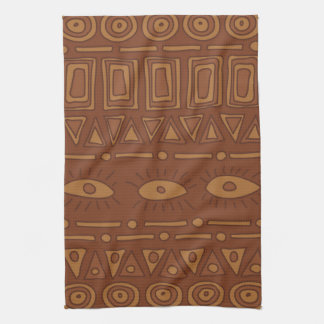 Ornamental earth colored ethnic pattern kitchen towel