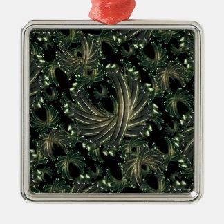 Ornamental Fancy Pattern Silver-Colored Square Ornament