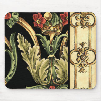 Ornamental Floral Design with Black Borders Mouse Pad