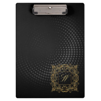 Ornamental Frame Monogram on Black Circular Clipboard