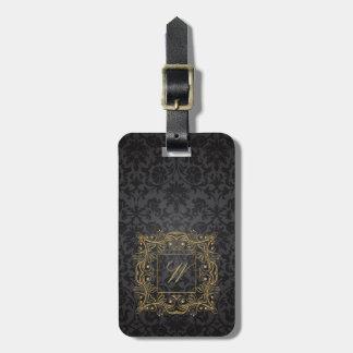 Ornamental Frame Monogram on Black Damask Luggage Tag