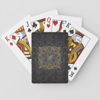 Ornamental Frame Monogram on Black Damask Playing Cards