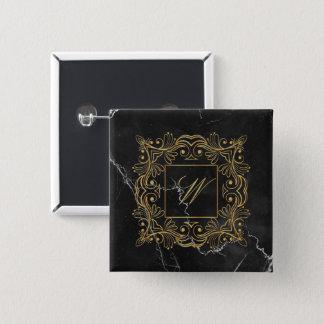 Ornamental Frame Monogram on Black Marble 2 Inch Square Button