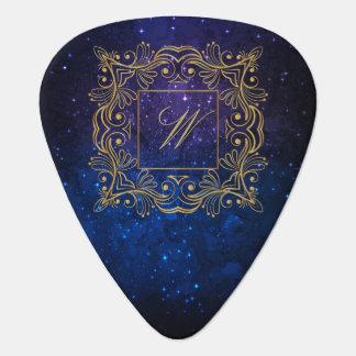 Ornamental Frame Monogram on Blue Galaxy Guitar Pick