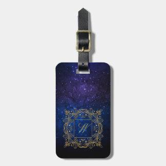 Ornamental Frame Monogram on Blue Galaxy Luggage Tag
