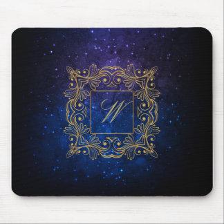 Ornamental Frame Monogram on Blue Galaxy Mouse Pad