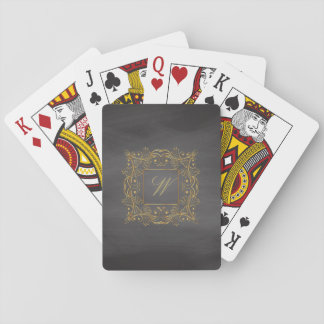 Ornamental Frame Monogram on Chalkboard Playing Cards