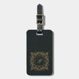 Ornamental Frame Monogram on Dark Leather Luggage Tag