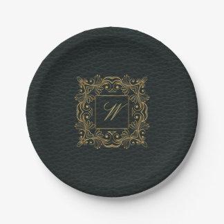 Ornamental Frame Monogram on Dark Leather Paper Plate