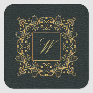 Ornamental Frame Monogram on Dark Leather Square Sticker