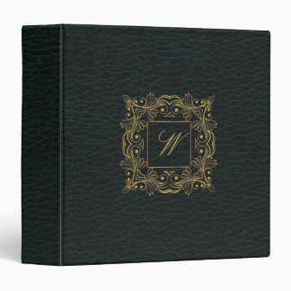 Ornamental Frame Monogram on Dark Leather Vinyl Binder
