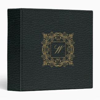 Ornamental Frame Monogram on Dark Leather Vinyl Binder