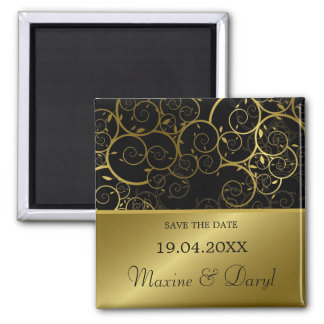 Ornamental Golden Spiral Vine Save The Date Magnet