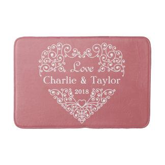 Ornamental Heart custom names & year bath mats