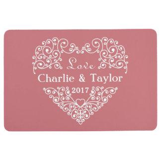 Ornamental Heart custom names & year floor mat