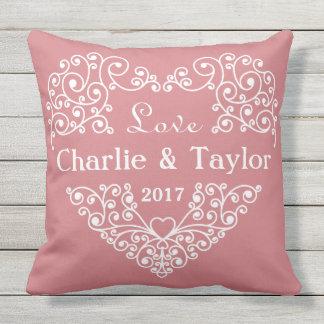 Ornamental Heart custom text pillows