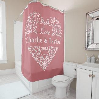 Ornamental Heart custom text shower curtain