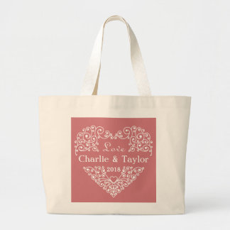 Ornamental Heart custom text tote bags