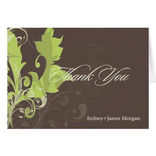 Ornamental Leaves/Green + Brown/Thank You Cards