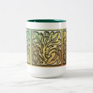 Ornamental Leaves Two-Tone Coffee Mug