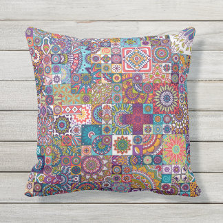 Ornamental Mosaic Background Throw Pillow